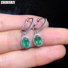 ZHHIEY, натуральный изумруд, серьги из натурального 925 пробы серебра, серьги-капли, настоящие изумруды, драгоценные камни для женщин, хорошее ювелирное изделие