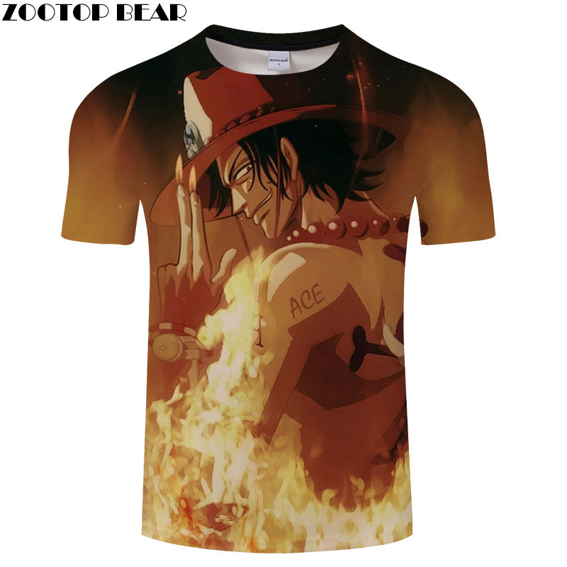 ACE Men T Shirts Movie Funny Cool Short Casual Shirt Comic Hot Anime One Piece Brand t-shirt Breathable 3D Print ZOOTOP BEAR