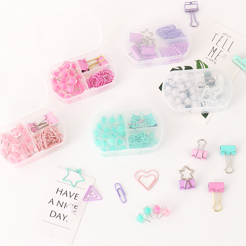 TUTU Coloful Binder Clips Push Pins Paper Clip Stationery Combination Set Pushpin Clip H0300(China)