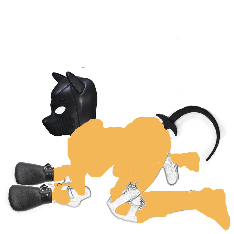 Slave Puppy Play Fantasy Bondage ,<font><b>Dog</b></font> Hood <font><b>Mask</b></font> ,Silicone <font><b>Dog</b></font> Tail Butt Plug, <font><b>Dog</b></font> Paw Crawl Padded Fist Mitts Gloves <font><b>Sex</b></font> Toys image