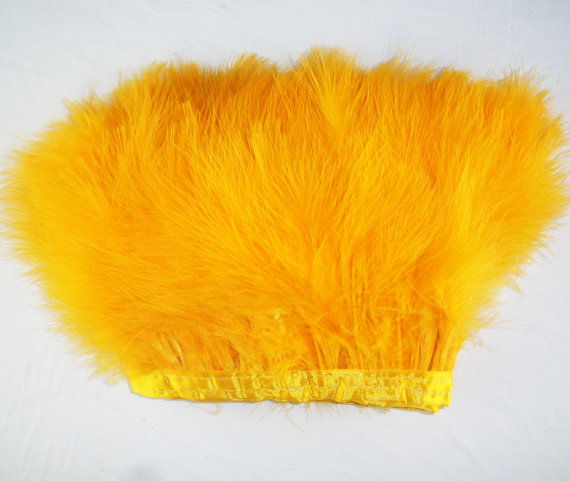 Free shipping 2pcs/lot orange Turkey Feather Boa Feather Scarf 2yards long Turkey Feather Strip Wedding Feathers