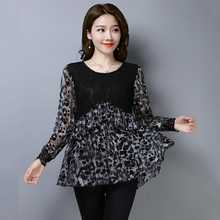 YICIYA Leopard print blouse top women plus size XXXL 4XL 5XL large shirts long sleeve blouses ruffled 2019 spring ladies clothes