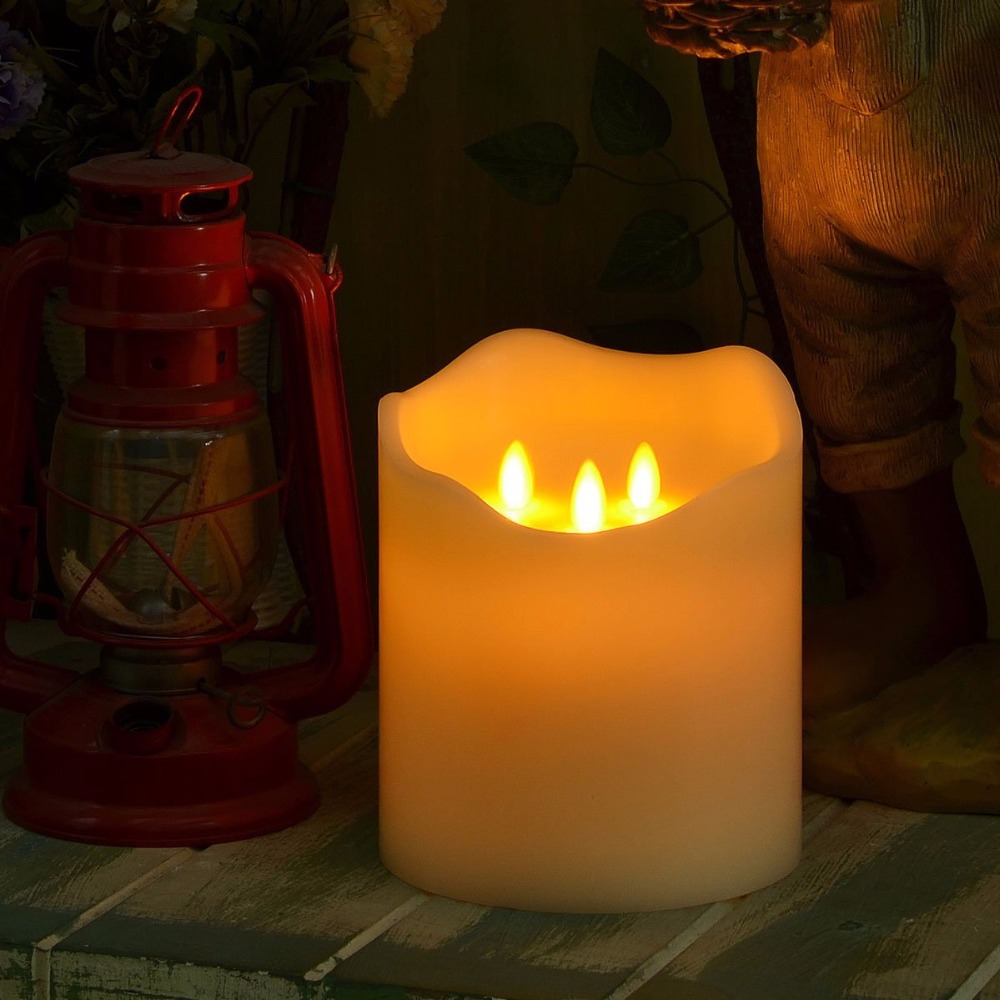 3 Moving Wicks Flameless Huge Wax LED Candle With Remote Control Ivroy Battery Operated Lamp For Christmas Home Decor