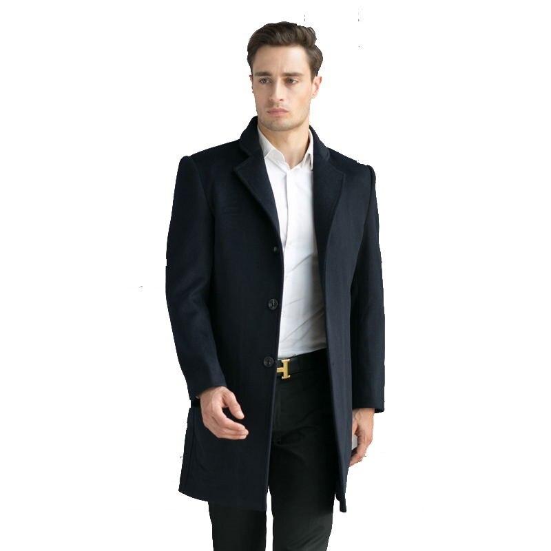 2016 Winter Wolle Einreiher Trenchcoat Männer Oberbekleidung Mantel Lässig Herren Jacke Windjacke Größe M-3xl Mild And Mellow