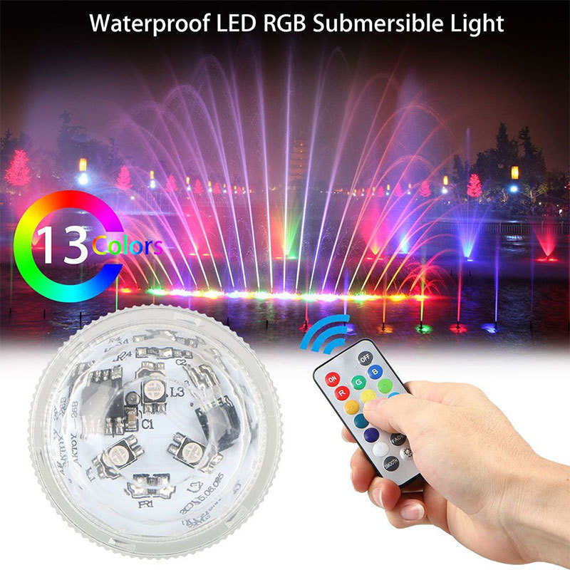 1PC Led Remote Controlled RGB Submersible Light Battery Operated Underwater Night Lamp Outdoor Vase Bowl Garden Party Decoration