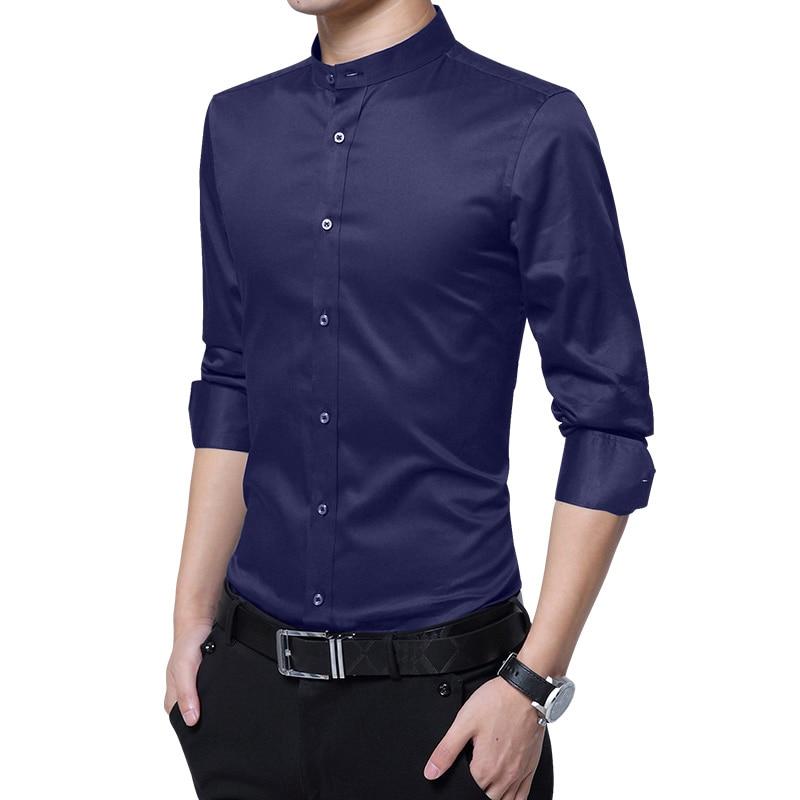2018 Autumn New Designers Cotton Man Shirts Long Sleeve Solid Casual Black White Slim Fit  Fashion Collarless Shirts 4XL 5XL