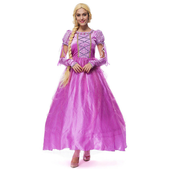 954b24d52 Hot Sale Fairy Tale Princess Cosplay Clothes Princess Tangled Rapunzel Dress  Cape Outfits Adult Halloween Costumes for Women