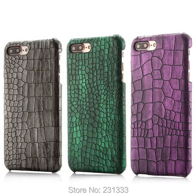 Crocodile Print Leather Hard PC Case For Iphone 7 PLUS Iphone7 7Plus I7 6 6S I6 Snake Phone Coque Capa Skin Cover Luxury 100pcs