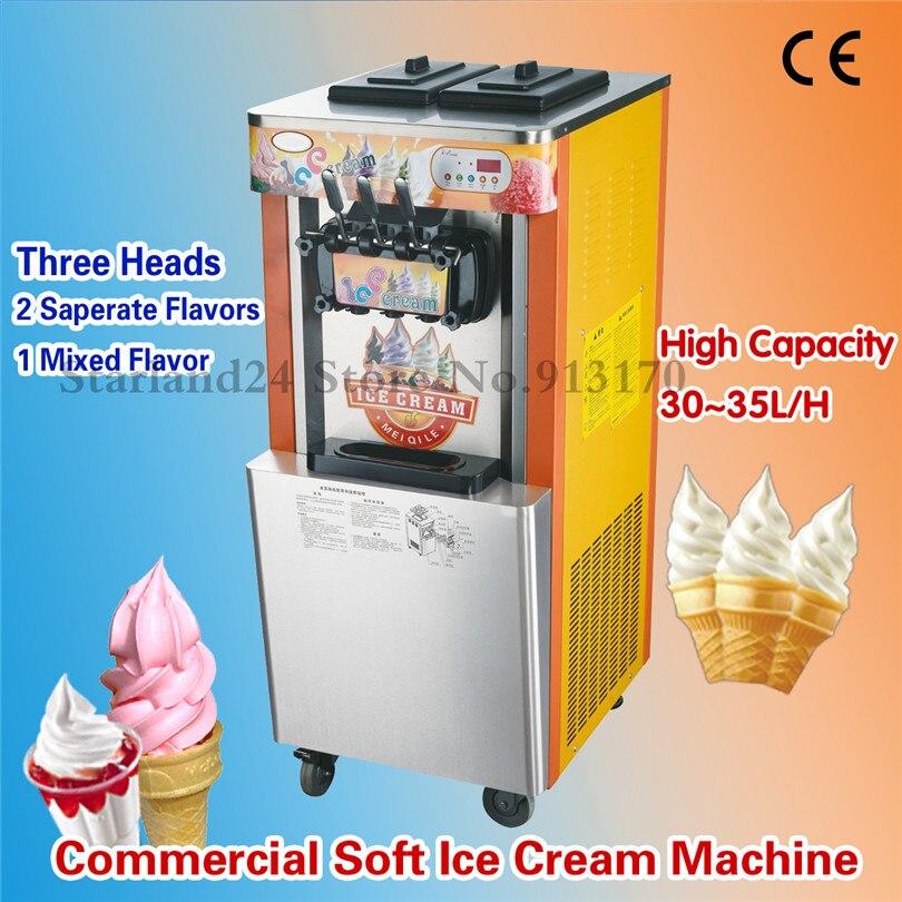 Vertical Soft Ice Cream Machine Frozen Yogurt Ice Cream Maker Three Heads Brand New 32~35liters/H CapacityVertical Soft Ice Cream Machine Frozen Yogurt Ice Cream Maker Three Heads Brand New 32~35liters/H Capacity