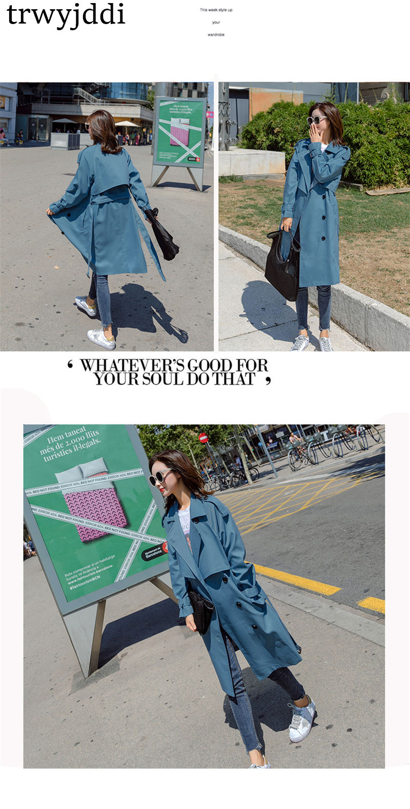 Fashion Windbreaker Coats Long section 19 New Spring Autumn Coat Women Trench Coats Korean Loose Casual Ladies Outerwear N402 2