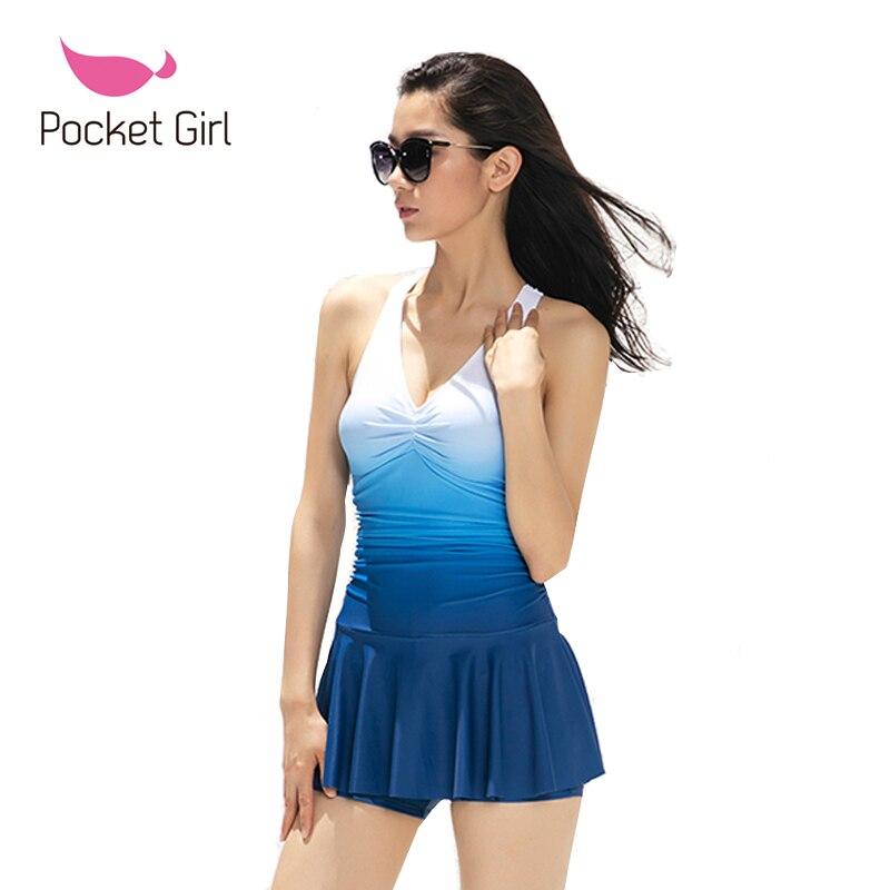 2017 new women one piece trikini swimsuit biquini skirt type push up gradient color bathing suit. Black Bedroom Furniture Sets. Home Design Ideas