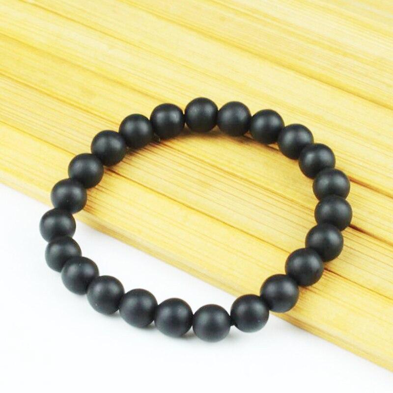 Natural black bian stone beads bracelet fashion women 8MM round jewelry gifts