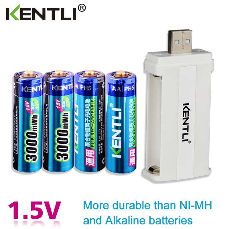 KENTLI 4pcs low self discharge 1.5v 3000mWh AA rechargeable Li polymer li ion polymer lithium battery +1 USB smart Charger