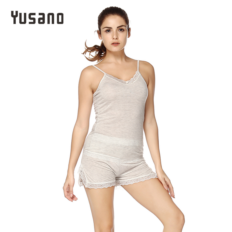 Yusano Sleepwear Sexy Pajamas Sets Short Sets Women Clothes Lace Strap Cami Top Short Pants Pijama V-Neck Pyjamas Nightwear Plus