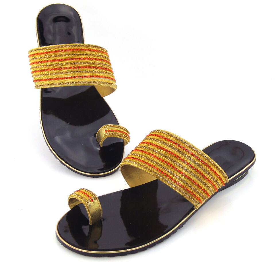 doershow Free Shipping! Beautiful Wedding Shoes top quality LOW Heel African Sandals With Shinning Stones  !!DD1-60 doershow new coming purple design african sandal shoes with shinning stones for fashion lady free shipping jk1 36