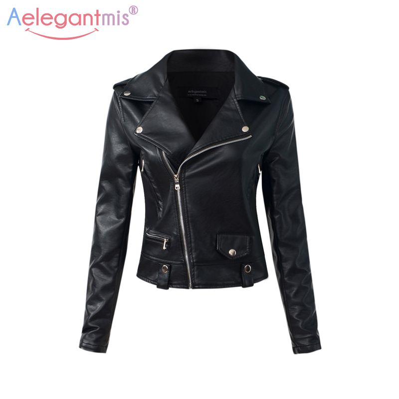 Aelegantmis Casual PU Leather Jacket Women Classic Zipper Short Motorcycle Jackets Lady Autumn Soft Leather Basic Coat Black