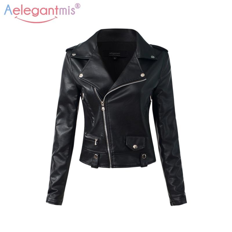 Aelegantmis Casual Pu Leather Jacket Women Classic Zipper Short Motorcycle Jackets Lady Autumn Winter Basic Leather Coat Black
