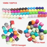 3 in 1lot100PCS 10MM MIX bead and 10pcs geometric beads and 10 pcs heart silicone beads