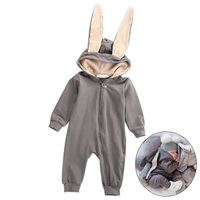 Autumn Winter Newborn Infant Romper With Hat Warm Cute Bunny Ear Jumpsuit Baby Boy Girl Clothes