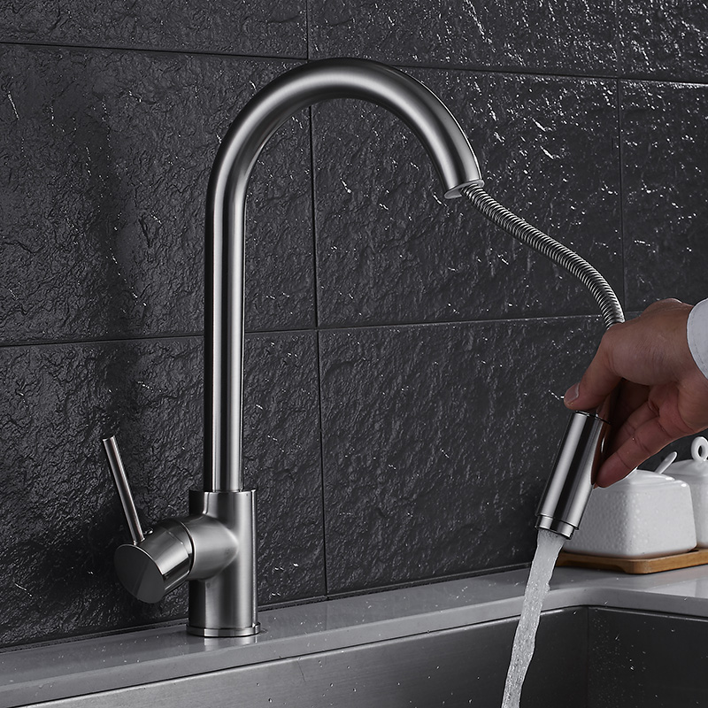 Pull Out Kitchen Faucet Nickel/Gold/Chrome/black Brushed Crane Sink Mixer Tap 360 degree rotation kitchen mixer taps Kitchen Tap pull out kitchen faucets brushed nickel sink mixer tap 360 degree rotatable torneira cozinha mixer taps