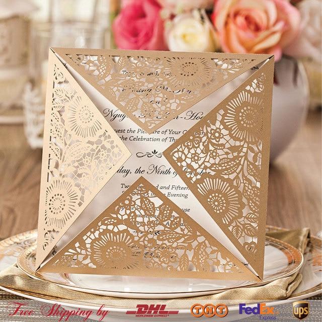 Estilo europeo champn blanco invitaciones de boda tarjetas de