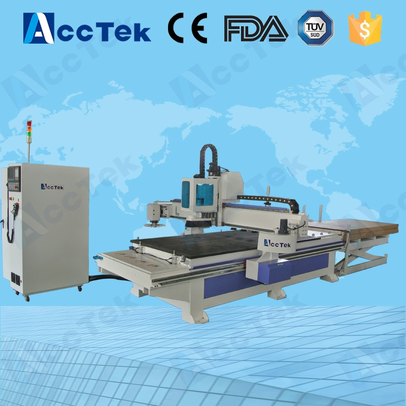 China wood furniture production line Auto feeding cnc sculpture machine 1325 cnc router with automatic tool change spindle