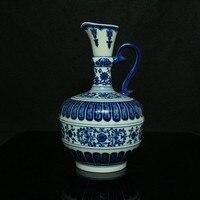 Niebieski i biały Słoń ucha Butelka chiński antyczne porcelany rzemiosło vintage home decor