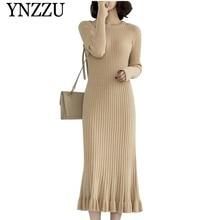 YNZZU 2019 New arrival solid women Mermaid dress Solid O-neck ruffles slim knitted Female long sleeve Winter vestidos D272
