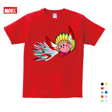 Cute Kirby Girl T Shirt Game Kids T-shirts Star Allies Characters Children Summer Tops Boy Cartoon Anime Pink Pattern NN