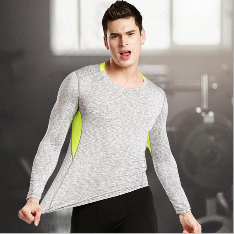 2017 New Mens Compression Shirts Bodybuilding Skin Tight Long Sleeves Jerseys Clothings Exercise Workout Fitness Sportswear