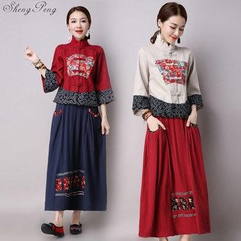 Chinese oriental women two piece set spring fall pantsuit women vintage floral print elegant ladies skirt suit CC617