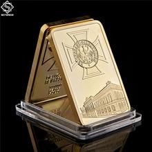 German Eagle Golden Beauty Bar 1 Ounce Deutsche Iron Cross Bar 1 OZ Germany 999 Gold Plated Souvenir Coi
