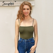 Simplee Casual sleeveless bodysuit jumpsuit romper Women Sexy white bodycon overalls streetwear Summer black one piece suit