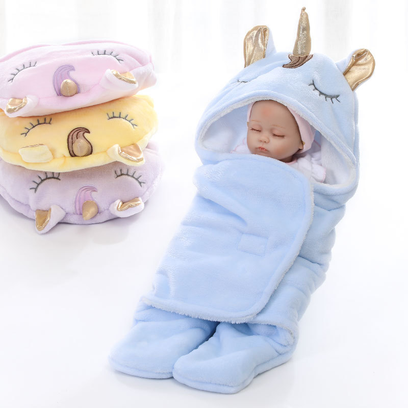 MYUDI - Newborn Infant Baby Swaddle Unicorn Double Layers Warm Thick Soft Baby's Wraps Blanket With Cute Ears Horn For Baby