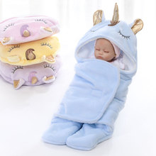 MYUDI - Newborn Infant Baby Swaddle Unicorn Double Layers Warm Thick Soft Babys Wraps Blanket With Cute Ears Horn for