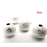 Best Quality 200 PcS Silver Plated Stardust Spacer Beads Findings Jewelry Making 8mm Dia.(w00136)