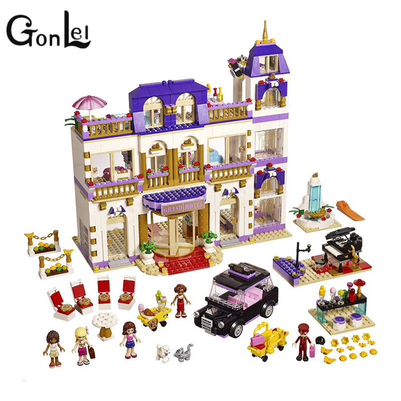 GonLeI 1585pcs BELA 10547 Girl Series Heart Lake City Hotel Girl Friends Building Blocks Bricks Toys Compatible with  41101 friends city park cafe building blocks toy set diy educational toys figure bricks toys compatible bela 10162 lepins friends 3061