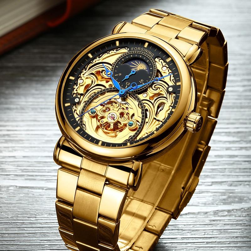 FORSINING Men Watch Top Brand Luxury Automatic Mechanical Watch Full Steel Business Waterproof Sport Watches Relogio