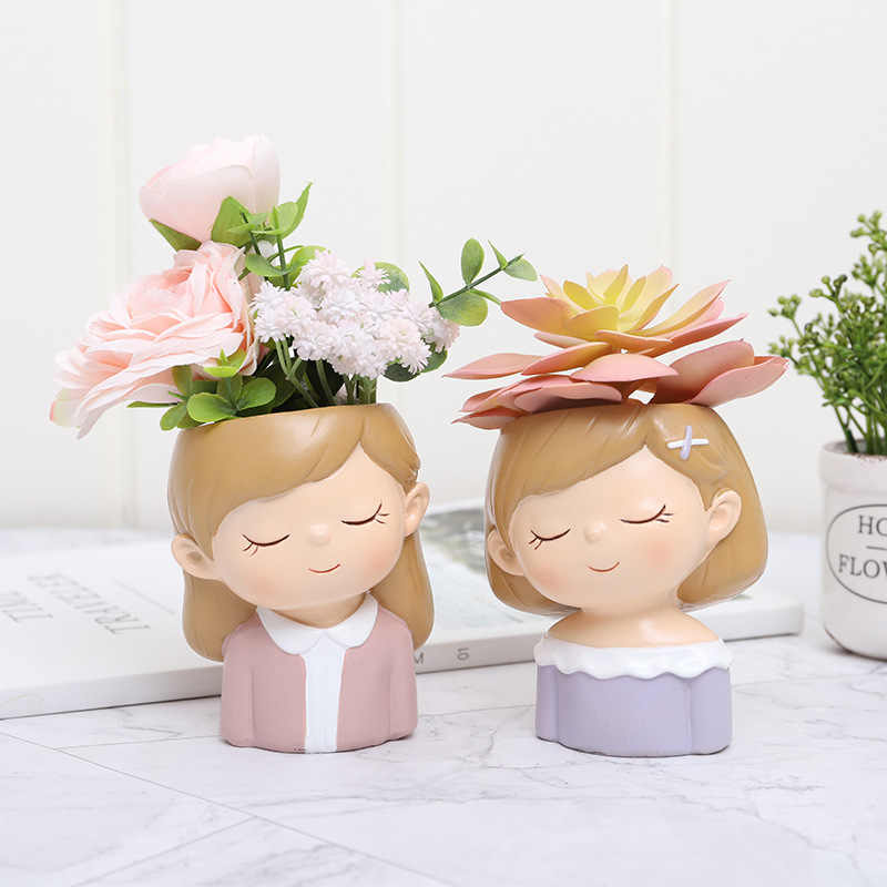 1 ピース樹脂植木鉢ミニ結婚式の装飾ポットサボテンプランターポット素敵なカップルと結婚するため多肉植物植木鉢