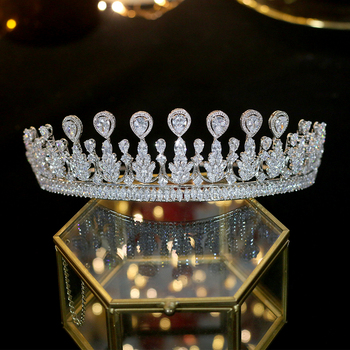 ASNIRA 2019 new Zirconia Tiara fashion handmade wedding headband bridal coat crown accessories female accessories