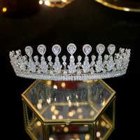 ASNIRA 2019 nuovo Zirconia Tiara da sposa fatto a mano di modo della fascia nuziale del cappotto corona accessori accessori femminili