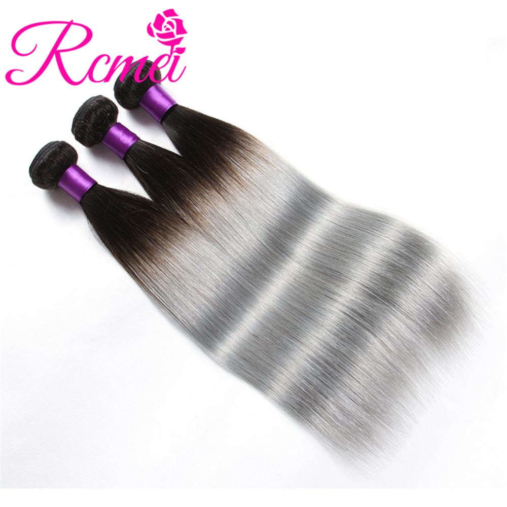 Rcmei Ombre Brazilian Hair Bundles 1B Grey Non Remy Human Hair Weave Gray Color Ombre Straight