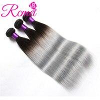 Rcmei Ombre Brazilian Hair Bundles 1B/Grey Non Remy Human Hair Weave Gray Color Ombre Straight Weaving 3 Bundles Deal Extensions