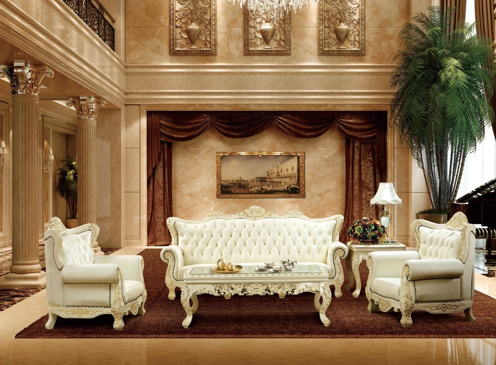 Luxury Antique France Style White And Red Genuine Leather Sofa Set For Living Room Furniture Oak Solid Wood Made In China