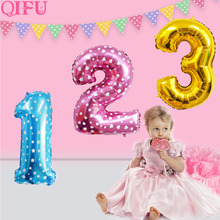 Qifu Rose Gold Balloon Number 32 Inch Foil Balloons Birthday Party Decorations Adult Boy Girl Helium Balloon Wedding Accessories