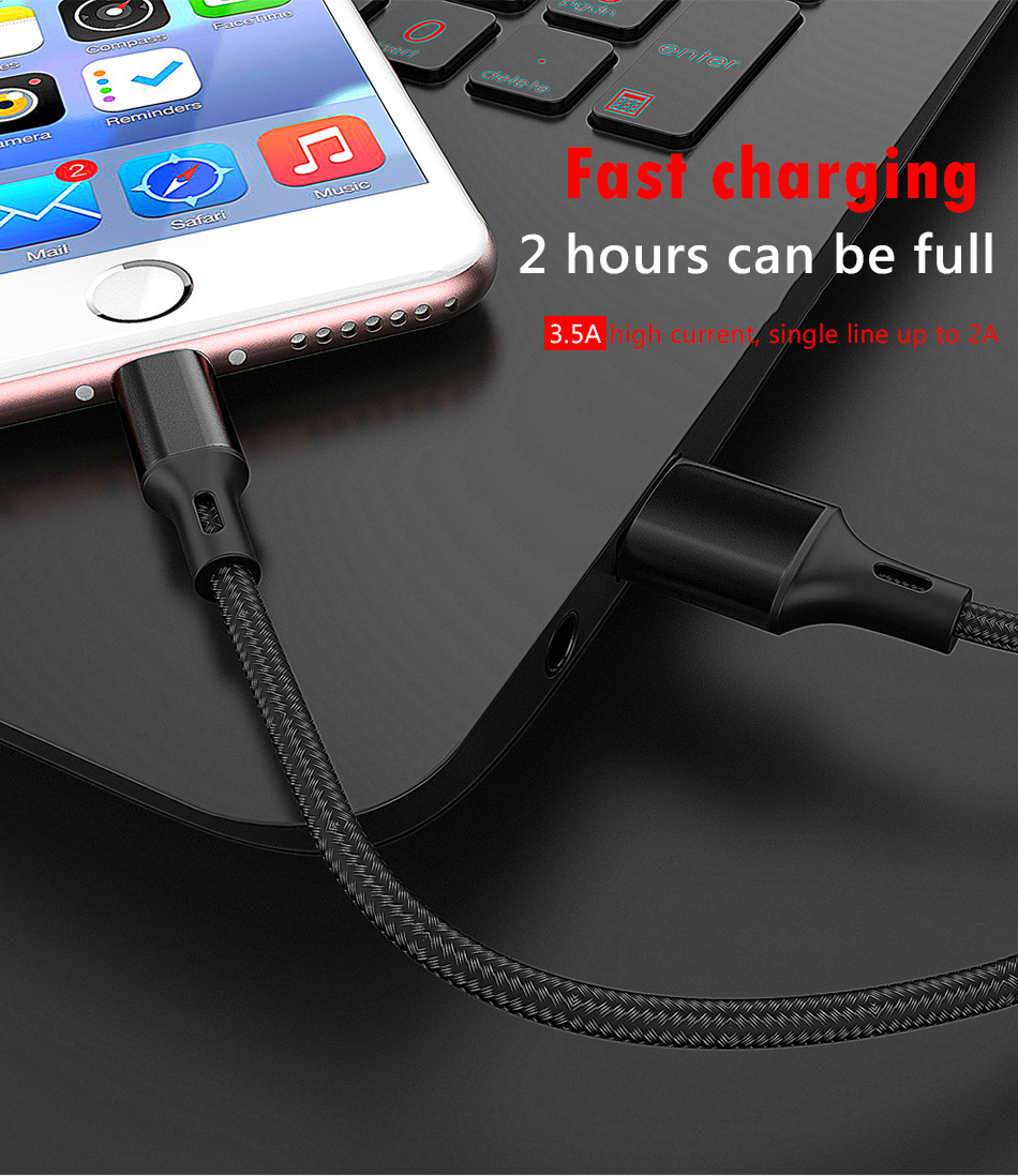 NOHON 3 in 1 Charging Cable Micro USB 8 Pin For iPhone X 8 7 XS MAX XR Plus Type C Lighting For Xiaomi Huawei 3.5A Charge Cable  (5)