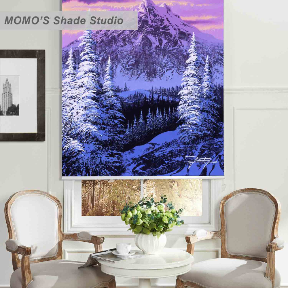 Waterfall In The Purple Floral Landscape Picture Photo Window Roller Blind
