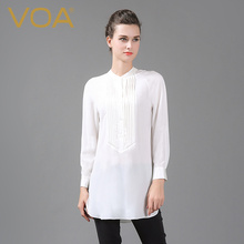 VOA silk long sleeved stand collar white shirt women long loose all-match silk blouse B6517