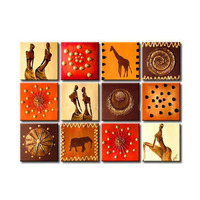 African Style Oil Painting 100% Hand painted Panel Design 12 of set canvas art home decoration for living room