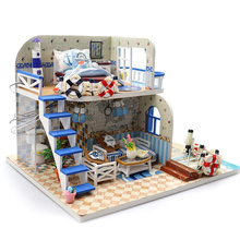 Doll House Miniature DIY Dollhouse With Marine Style Furnitures Wooden Toys For Children Birthday Gift